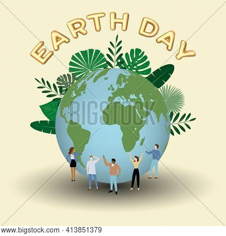 Earth Day Vector Illustration. Landing Page Template. Isolated Vector Illustration On The Theme Of S