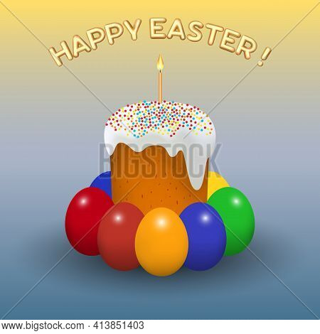 Easter Holiday. Festive Template For Postcard Advertisement Poster Flyer Website Mobile Devices.