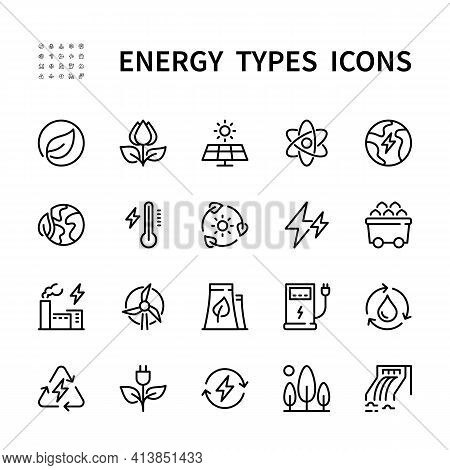 Types Of Energy Vector Line Icons. Isolated Icon Collection Of Energy Types For Web Sites On White B