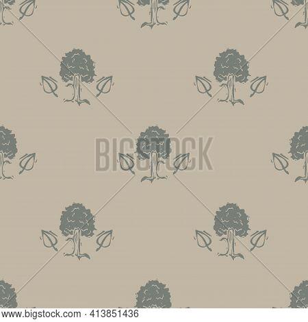 Handmade Carved Forest Tree Block Print Seamless Pattern. Rustic Heritage Folk Art Woodland Backgrou