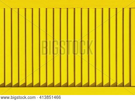 Part Of Modern Interior With Yellow Horizontal Patterned Texture Of Wooden Shutters, Casements Or Bl