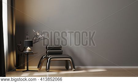 Modern Luxury Dark Tones Living Room Interior Background With Gray Wall, Metal Armchair With Lamp An