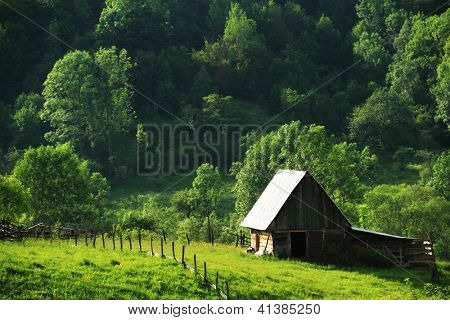 Ancient village house in the Occidental Carpathians, Romania, Europe