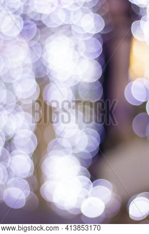 Large Boke. Blurred Background. The Lights Are Blurry. Lot Of Round Circles