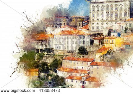 Watercolor Drawing. The Architecture Of The City Of Porto, The Old Authentic Buildings With Red Roof