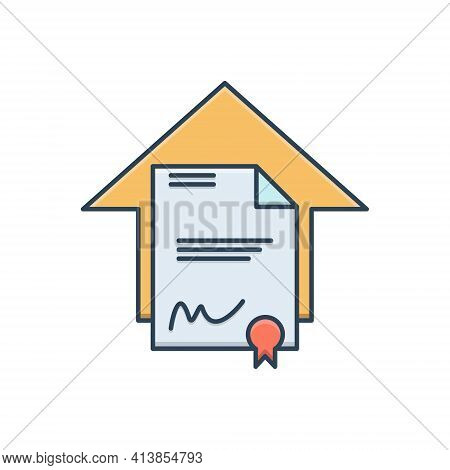 Color Illustration Icon For Legal Aspects Juristic Juridical Property