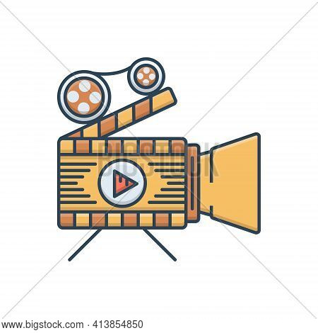 Color Illustration Icon For Feature-films Feature-films Documentary Shooting  Filmmaking