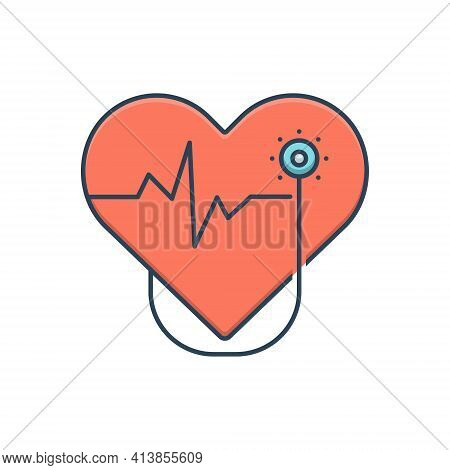 Color Illustration Icon For Cardiology  Cardio Heart Oncology Cardiology-surgery