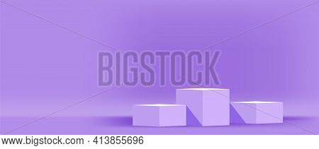 Purple Pastel Pedestal Stage For Cosmetics Make-up Product Showcase, Modern Podium 3 Step For Produc
