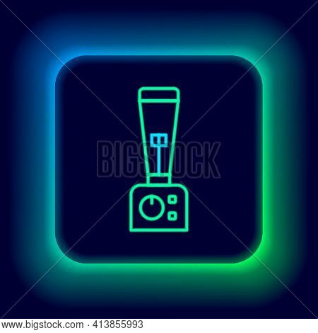 Glowing Neon Line Blender Icon Isolated On Black Background. Kitchen Electric Stationary Blender Wit