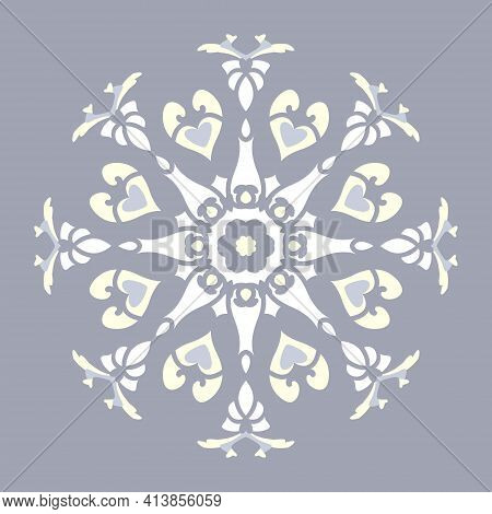 Mandala With Hearts And Candles. Pattern. Blue Jean Color, Pale Yellow And White. Pastel Colors. Vec