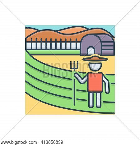 Color Illustration Icon For Farming  Farm Agriculture  Farmers  Farming-fields