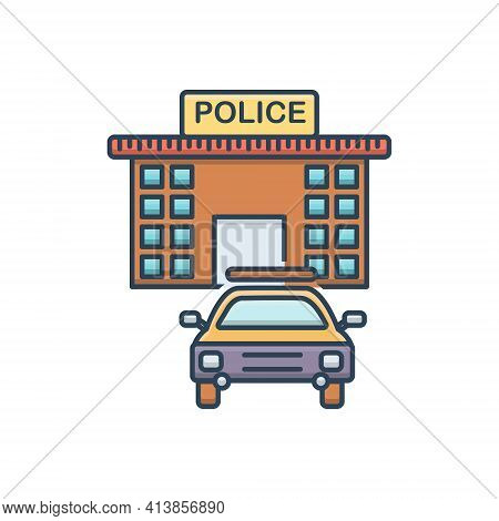 Color Illustration Icon For Law-enforcement Police Law Police-station Sheriff