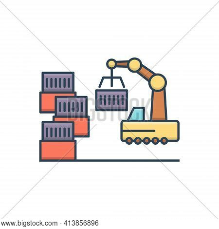 Color Illustration Icon For Manufacturing Industrial Factory  Technology Manufacture