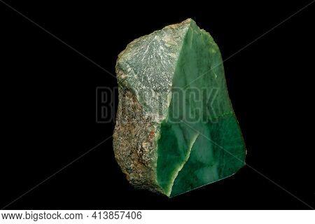 Macro Stone Nephrite Mineral On Black Background