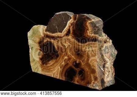 Macro Stone Mineral Onyx Marble On A Black Background
