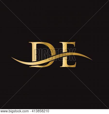 De Linked Logo For Business And Company Identity. Creative Letter De Logo Vector