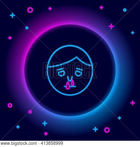 Glowing Neon Line Runny Nose Icon Isolated On Black Background. Rhinitis Symptoms, Treatment. Nose A