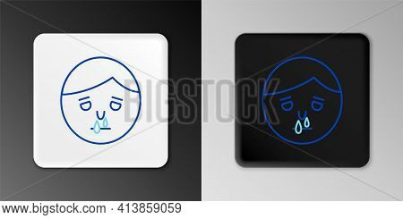 Line Runny Nose Icon Isolated On Grey Background. Rhinitis Symptoms, Treatment. Nose And Sneezing. N