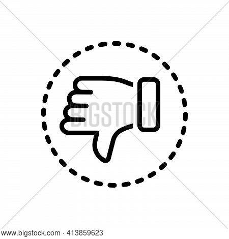 Black Line Icon For Negative Pessimistic Thumb Denied Dislike Rejected Unlike
