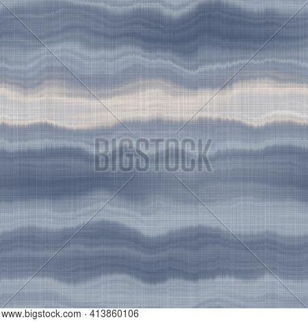 Seamless French Farmhouse Woven Linen Stripe Texture. Ecru Flax Blue Hemp Fiber. Natural Pattern Bac