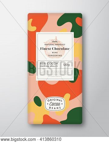 Tangerine Chocolate Label. Abstract Shapes Vector Packaging Design Layout With Realistic Shadows. Mo