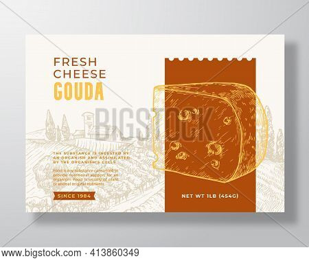 Fresh Gouda Food Label Template. Abstract Vector Packaging Design Layout. Modern Typography Banner W