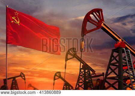 Soviet Union (sssr, Ussr) Oil Industry Concept, Industrial Illustration. Soviet Union (sssr, Ussr) F