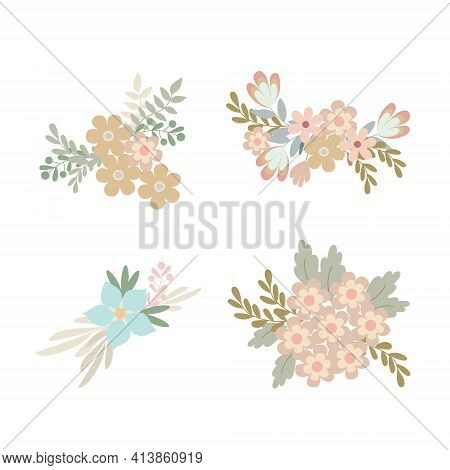 Floral Arrangement Set Of Simple Pastel-colored Flowers In Flat Style Vector Illustration, Symbol Of