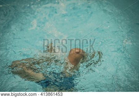 Photo From Above, Abstract Life Background. Unrecognizable Child Body Legs Feet Knees Under Pool Wat