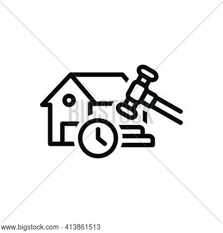 Black Line Icon For Temporary Tempora Makeshift Property Streaky Legally Hammer