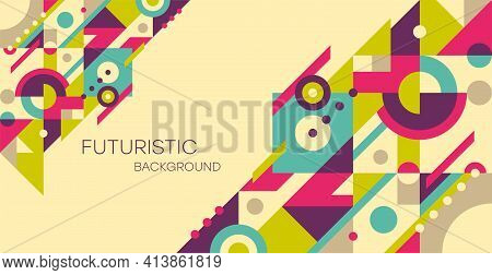 Abstract Geometric Background. Colorful, Minimalist Retro Poster Graphics Vector Illustration.