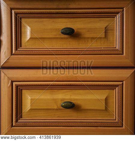 Door Wooden Brown Cabinet With Horizontal Drawers