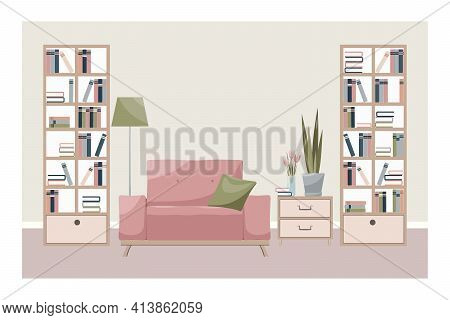 Interior Of A Room Or Home Library: Armchair, Flowers, Books, Bookcase. Modern Design Interior Of Ho