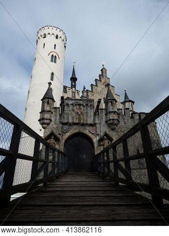 Wooden Draw Bridge At Medieval Schloss Lichtenstein Castle On Hill Cliff Edge In Echaz Valley Honau