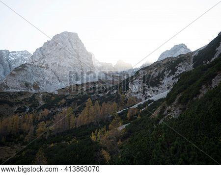 Autumn Fall Sunset Panorama Of Alpine Mountain Landscape At Lake Seebensee In Ehrwald Tyrol, Austria