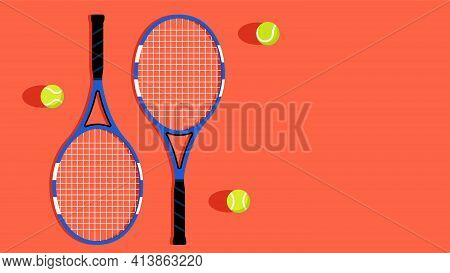 Tennis Ball And Tennis Racket. Sports Equipment For Playing Tennis On A Court. Concept Of Sports, Re