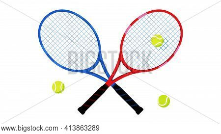 Tennis - Balls And Racket. Sports Equipment For Playing Tennis On White Background. Concept Of Sport