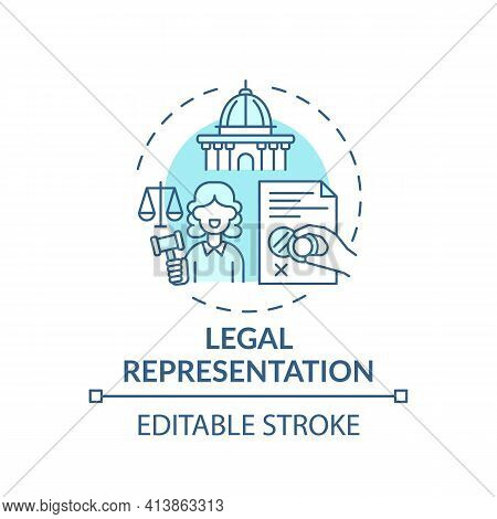 Legal Representation Concept Icon. Legal Services Categories. Protecting Clients In Judicial And Adm