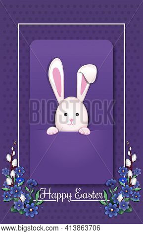 Happy Easter. Greeting Card With Easter Bunny. Easter Card With Rabbit. Vector Illustration