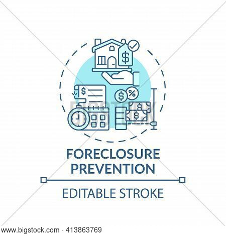 Foreclosure Prevention Concept Icon. Legal Services Types. Help Homeowners Who Are In Danger Of Loos