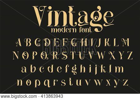 Vintage Decorative Font - Cathleen. Retro Typerface. Elegance Serif Alphabet. Vector Font For Label,