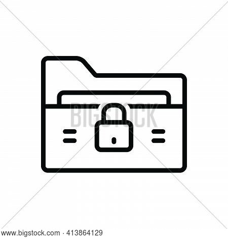 Black Line Icon For Locked Locker Padlock Privacy Secret Secure Antivirus Document