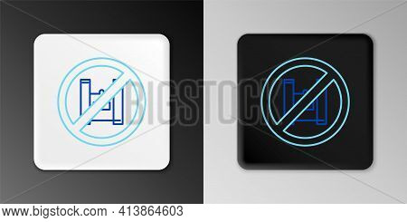 Line Say No To Plastic Bags Poster Icon Isolated On Grey Background. Disposable Cellophane And Polyt