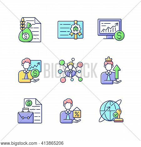 Financial Advisor Rgb Color Icons Set. Commodity Broker Services. Professional License. Online Stock