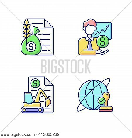 Intermediary Services Rgb Color Icons Set. Commodity Broker. Sponsorship, Stock Trading. Equipment L