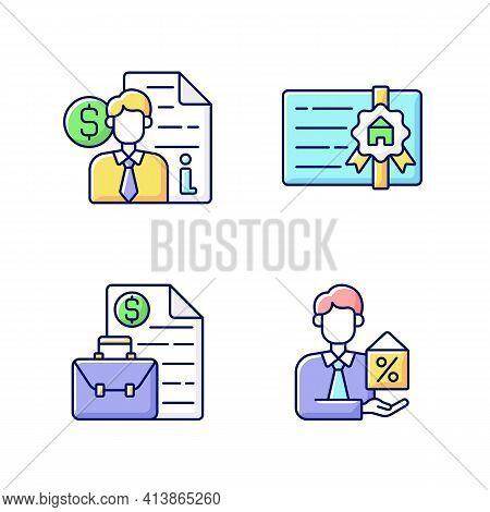 Broker Rgb Color Icons Set. Finance Advisor Consultation. Broker License. Business Management, Contr