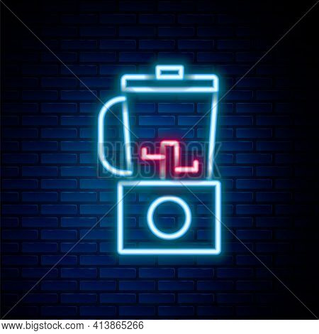 Glowing Neon Line Blender Icon Isolated On Brick Wall Background. Kitchen Electric Stationary Blende