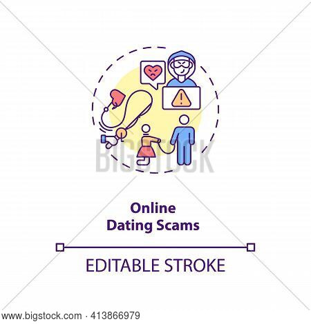 Online Dating Scams Concept Icon. Hackers On Dating Website And Blackmail Ideas Thin Line Illustrati