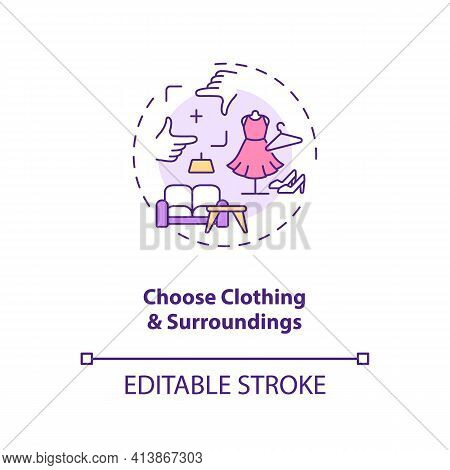 Choose Clothing, Surroundings Concept Icon. Successfull Video Dating Tips Ideas Thin Line Illustrati